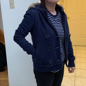 Navy blue jacket with detachable furry hood